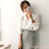 雪紡上衣雪紡襯衫女設計感小眾長袖2020早秋裝新款韓版寬鬆百搭職業裝上衣 交換禮物
