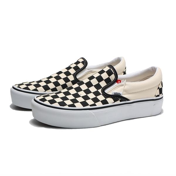 VANS 休閒鞋 板鞋 CLASSIC SLIP-ON 米黑 厚底 棋盤格 女(布魯克林) VN00018EBWW