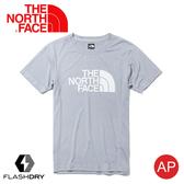 【The North Face 男 排汗LOGO短袖T恤《灰白》】3CJM/FlashDry/排汗快乾/運動衣/圓領衣/休閒衣