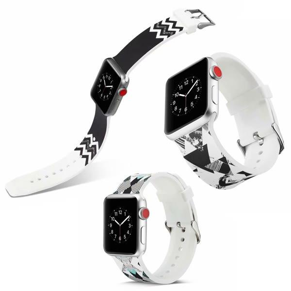 蘋果 apple watch錶帶 多圖款錶帶 蘋果錶帶 矽膠錶帶 彩繪錶帶 38MM錶帶 42MM 錶帶