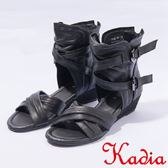 ★2017春夏新品★kadia.交叉線條羅馬涼鞋(7113-91黑 )