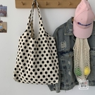 購物包 日式小圓點大容量慵懶風手拎單肩包環保購物袋帆布包書包女【快速出貨八折鉅惠】