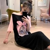 大碼睡裙可愛貓咪莫代爾睡裙女夏寬鬆長款薄款韓版學生大碼孕婦甜美睡衣 嬡孕哺