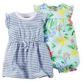 【美國Carter's】套裝二件組 - 夏日條紋風情短袖純棉洋裝+花卉連身衣 121G479