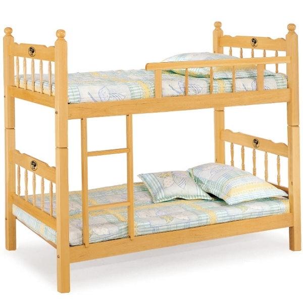 雙層床 AT-599-3 3尺白木方柱單欄雙層床 (不含床墊) 【大眾家居舘】