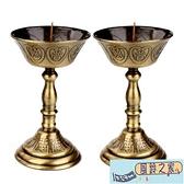 聚緣閣合金燭台擺件中式復古金色一對蓮花蠟燭燈家用佛堂供奉用品