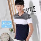 【Y069】shiny藍格子-極簡基調.夏季拼接修身圓領短袖上衣