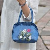 包包中年女包 民族風繡花刺繡帆布手拿包 手提包 小包小方包 降價兩天