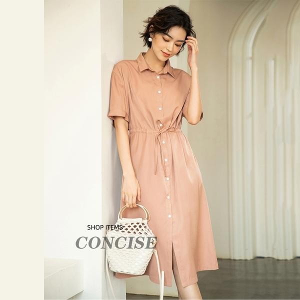 現貨氣質腰繫帶襯衫式洋裝連身裙【80-16-8Z2062-20】ibella 艾貝拉