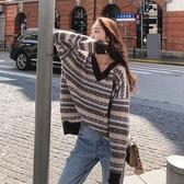 針織上衣 韓系秋冬復古條紋寬鬆毛衣 花漾小姐【預購】