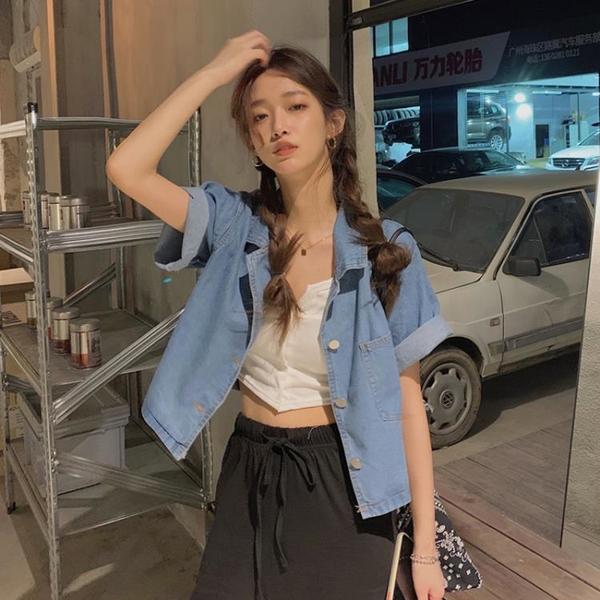 牛仔襯衫外套女設計感復古港味短袖襯衣夏季新款寬松