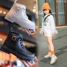 女童靴子 2021年新款寶寶煙筒靴兒童靴子真皮女童馬丁靴英倫風春秋單靴短靴 薇薇
