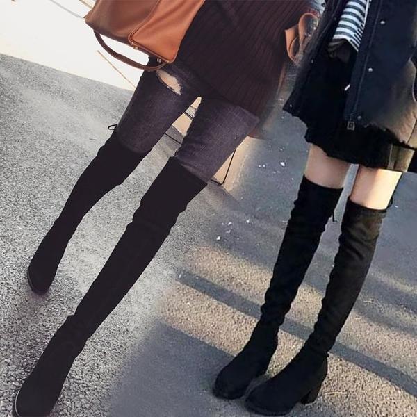 秋款過膝靴女平底高跟sw靴子彈力長筒靴高筒靴膝上靴冬