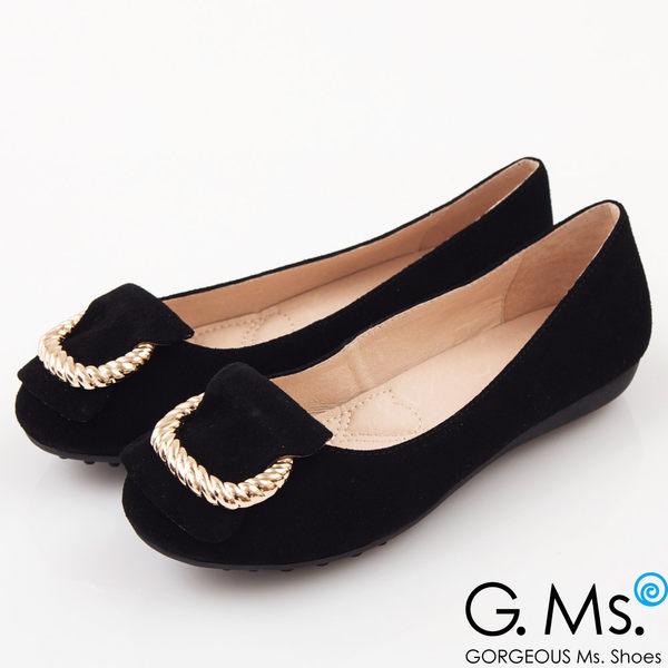 G.Ms. 羊麂皮金屬繩紋皮帶釦環娃娃鞋*優雅黑