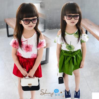 【R0136】shiny藍格子-嬰幼館.夏裝女童花朵露肩上衣+短裙套裝