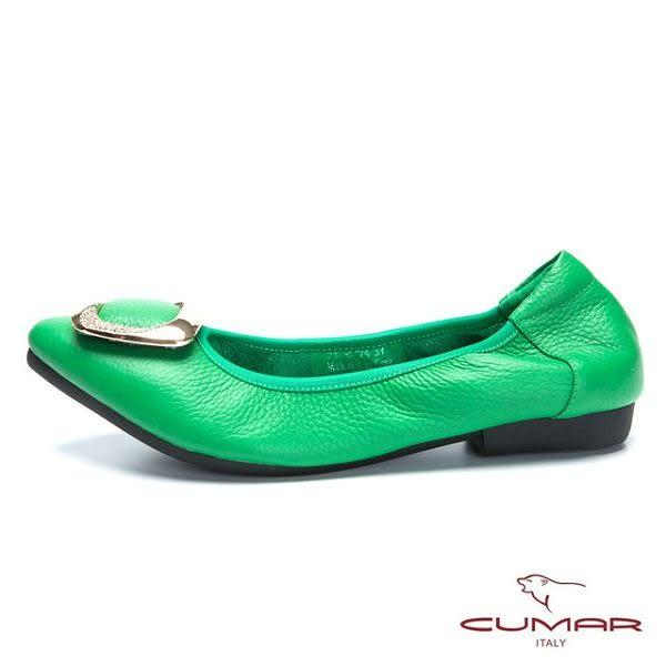 ★新品上市★【CUMAR】舒適真皮 水鑽金屬裝飾平底包鞋(綠色)