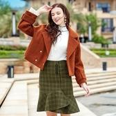 毛呢外套-短版翻領純色雙排扣冬季女大衣73ui17[巴黎精品]
