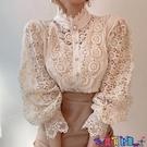 法式上衣 韓國chic春秋復古法式小眾設計感宮廷風上衣蕾絲立領長袖襯衫女 寶貝計畫