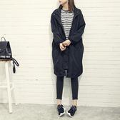 風衣 韓版英倫寬鬆連帽薄款風衣女學生春夏中長款黑色休閒外套潮