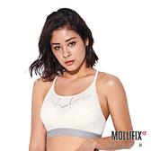 Mollifix 瑪莉菲絲 A++簡約Y背LOGO織帶舒心BRA (白+淡灰)
