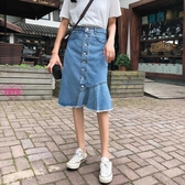 YoYo 高腰牛仔中長裙 單排扣牛仔包臀裙 魚尾半身裙(S-XL)AT1013
