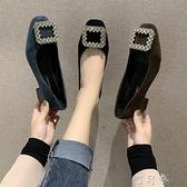 鞋子新款女春季時尚水鑽扣網紅單鞋黑色高跟鞋女粗跟職業女鞋 【618特惠】