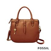 FOSSIL RYDER 真皮圓弧仕女側背包-咖啡色