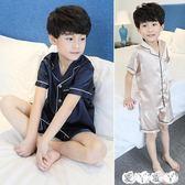 兒童睡衣 男童睡衣夏季薄款冰絲兒童家居服短袖套裝夏天中大童12歲15小男孩【全館9折】