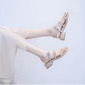 涼鞋女學生夏2019新款百搭韓版低跟粗跟一字扣帶3厘米簡約仙女風
