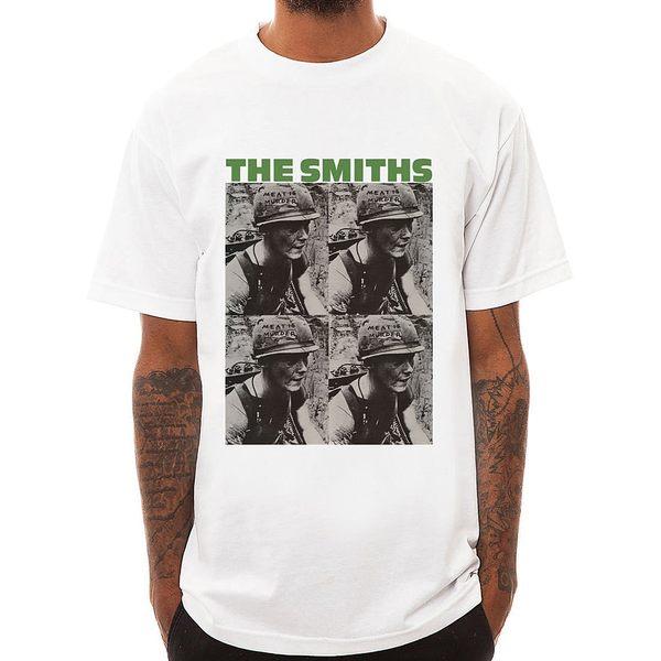 The Smiths-meat 短袖T恤-白色 人物相片潮流搖滾樂團吉他