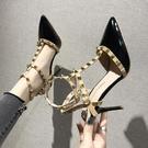 高跟鞋 鉚釘高跟鞋女夏細跟仙女風性感柳丁尖頭淺口單鞋女春女鞋-Ballet朵朵