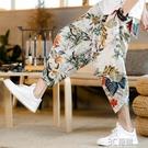 亞麻七分褲男夏季薄款寬鬆闊腿燈籠褲中國風休閒褲潮流沙灘花褲子 3C優購