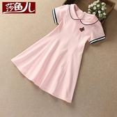 女童連衣裙夏季短袖新款童裝兒童學院風裙子中大童女孩公主裙 晴天時尚