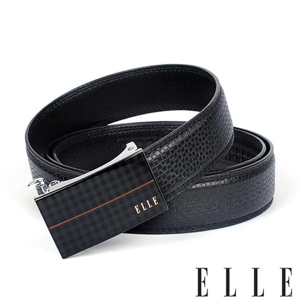 背包族【ELLE HOMME】經典格紋中壓線自動扣皮帶/紳士皮帶(黑)