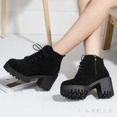 中大尺碼粗跟短靴 靴子女韓版中跟粗跟馬丁靴系帶側拉鏈防滑短靴瘦瘦靴LB2705【3C環球數位館】