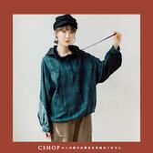 T恤   URBAN連帽格紋異材質拼接棉麻衫   單色-小C館日系