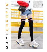 新年好禮85折 高筒襪女生韓國學院風潮流過膝襪日系條紋純棉大腿襪薄款長筒襪子