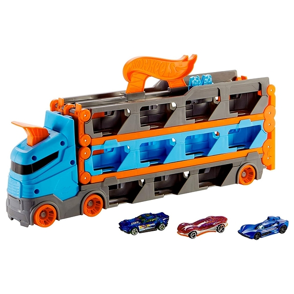 《 風火輪 HOT WHEELS 》風火輪摺疊賽道收納卡車 / JOYBUS玩具百貨