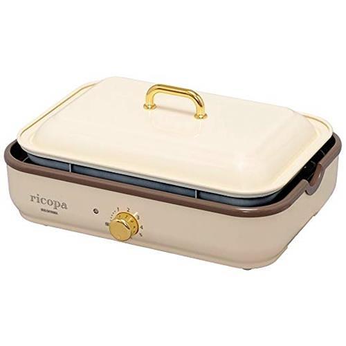 【日本代購】愛麗思歐雅瑪 電熱烤盤 2WAY 烤盤 ricopa, 象牙色