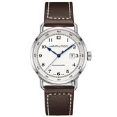 Hamilton 漢米爾頓 海軍80小時動力儲存機械錶-白x咖啡/43mm H77715553