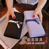 長夾 新品歐美大牌簡約搭扣長款錢包女式OL大鈔軟皮夾手機卡位錢夾