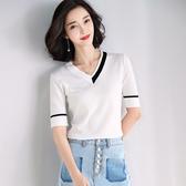 短袖針織衫-簡潔V領撞色線條女T恤2色73xi17【巴黎精品】