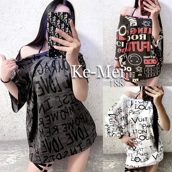 克妹Ke-Mei【AT68259】INS採購獨家潮感字母圖印寬鬆T恤洋裝
