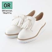 【ORiental TRaffic】流蘇綁帶2way厚底鞋-清新白