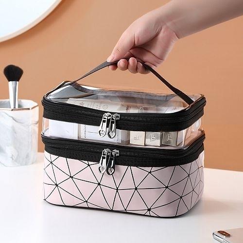 手提大容量雙層網紅化妝包 透明洗漱包 防水旅行便攜收納包