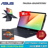 【ASUS 華碩】VivoBook Flip 14 TM420UA-0042KR75700U 翻轉筆電 灰