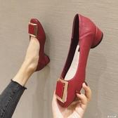 英倫風女鞋春季新款韓版時尚百搭金屬方扣淺口中跟黑色單鞋顯瘦鞋 夢幻衣都