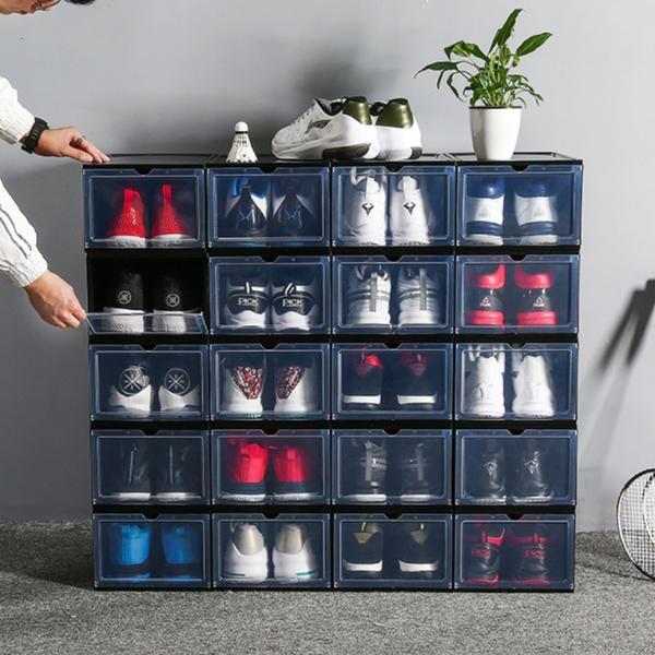 加厚透明鞋盒 翻蓋抽屜式塑膠鞋子收納盒【庫奇小舖】