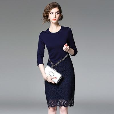 洋裝-中袖純色鏤空蕾絲釘珠女連身裙2色73of19[巴黎精品]