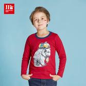 JJLKIDS 男童 熊的異想世界純棉長袖T上衣 T恤(紅色)